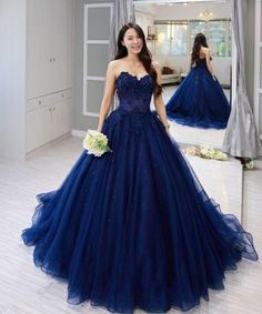 Navy Blue Tulle Sweetheart Long Lace Applique Formal Prom Dress, Shop plus-sized prom dresses for curvy figures and plus-size party dresses. Ball gowns for prom in plus sizes and short plus-sized prom dresses for Blue Ball Gowns, Ball Gowns Prom, Party Gowns, Ball Dresses, Evening Dresses, 15 Dresses, Casual Dresses, Dresses Online, Formal Dresses