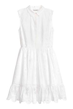 Embroidered cotton dress - White - Ladies | H&M CA