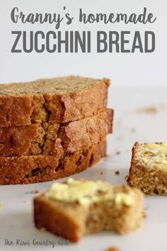 My Granny's zucchini bread recipe – the only zucchini bread I will ever make! Crunchy on the outside with a super tender crumb and flavour that is out of this world, you won't ever need another zucchini bread recipe! Granny Homemade, Easy Zucchini Bread, Recipe Zucchini, Good Food, Yummy Food, Home Baking, Sweet Bread, Baking Recipes, Baking Tips