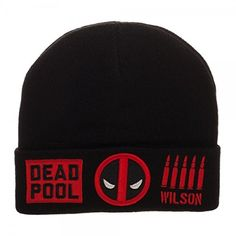 new arrival 2fadf 39592 Black acrylic Deadpool Omni Batch Beanie, with a Marvel logo tag on the  back and embroidered Dead Pool, mask icons, and ammo on the front.