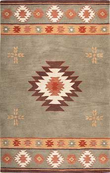 Pretty sage, terra cotta, copper Southwestern style Medallion wool area rug. Lots of sizes, including rounds.