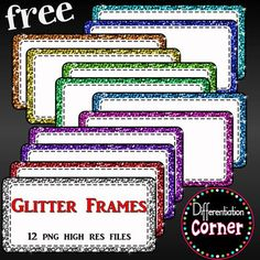 Glitter Frames or LabelsUse these sparkly glittery frames to dress up your project!Inlcudes12 high resolution png files with transparent backgrounds****************************************************************************Don't forget to hit that green star and follow me for new products and sales!