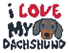I Love My Dachshund Counted Cross Stitch Pattern PDF. $3.00, via Etsy.