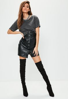Cindy Mello || MISSGUIDED (2017) Cindy Mello, Missguided, Knee Boots, Leather Skirt, Skirts, Model, Shoes, Fashion, Moda