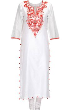 White and red embroidered straight kurta set by Seema Khan. Shop now: http://www.perniaspopupshop.com/designers/seema-khan #kurtaset #seemakhan #shopnow #perniaspopupshop