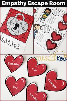 This empathy puzzle-solving teamwork experience is an escape room style activity to practice cooperative skills like communication and listening. Students work together to solve 5 empathy-themed puzzles, unscramble code words, and earn empathy hearts! Use this cooperation activity for small group counseling or classroom guidance lessons to talk about teamwork, cooperation, and most importantly, empathy. #escaperoom #empathy #counselorkeri