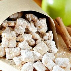 Apple Pie Muddy Buddies! They taste just like your favorite fall dessert, but in a no bake dessert form! Hooray for puppy chow!