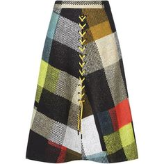 Preen by Thornton Bregazzi Multi A-line Plaid Astor Skirt (731.675 CLP) ❤ liked on Polyvore featuring skirts, multi, black a line skirt, black plaid skirt, eyelet skirt, plaid skirt and knee length a line skirt