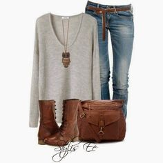 Grey loose sweater, jeans, hand bag and long boots style for fall