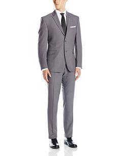Perry Ellis Men's Two Button Gray Slim Fit Solid Suit, Grey, 40 Short