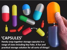 Capsules #3DPrinting #3DThursday  ||  Muzz64 shared this handy project on Thingiverse! The range of 'Capsules' are fun and practical storage containers that look like a medicine capsule so can be configured in any combinati… https://blog.adafruit.com/2017/10/05/capsules-3dprinting-3dthursday/?utm_campaign=crowdfire&utm_content=crowdfire&utm_medium=social&utm_source=pinterest