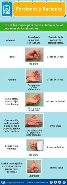 Utiliza tus manos para medir el tamaño de las porciones de los alimentos.