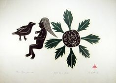 Spirit of the dead by Helen Kalvak graphic artist . Kalvak lived the traditional migratory life of most early twentieth-century Inuits (Eskimos) for most of her life. Inuit Kunst, Inuit Art, Spirits Of The Dead, Gravure, Geometric Designs, Trees To Plant, Line Art, Painting & Drawing, Graphic Design