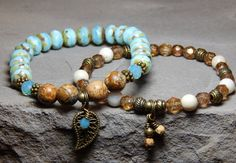 About the Bracelet Harmonize yourself with nature with this beautiful bracelet set. Picture jasper, riverstone and sky blue rondelles create an earthly masterpiece made just for nature lovers. Bracele