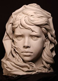 """The Fisherman's Daughter"" La Fille du Marin. This portrait is a maquette for a 6-8 times life-size sculpture in limestone. By Philippe Faraut"