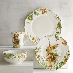 What better way to create a spring-inspired place setting than with a bunny plate on top? Our porcelain Lilly the Bunny Dinnerware is perfect for Easter dinner and all your springtime entertaining. Featuring Lilly with her signature basket backpack, this dinnerware will bring beautiful springtime flowers and vegetables to the table for all to enjoy.