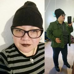 "Comfy fall spring outfit: #plussizeootd #effyourbeautystandards thrifted utility military jacket & grey and black striped shirt & skinny jeans, REI hat, bravissimo 38k bra, black silknaturals lipstick & makeup. Black bamboo socks sockdreams & black leather clogs. Rubber necklace & DIY clay pendant. My curvy measurements 51""b-42""w-43.5""h & >5; I hope this helps myself & others contemplating style and plus sized apple inverted triangle fashion. 2-16"