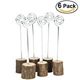 #5: NUOLUX Wooden Base Memo Photo Holder Card Paper Note Clip Wedding Place Name Card Holders 6pcs