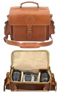 Leather camera bag I want to have. I love the red messenger bag I have, I just love the look of leather.
