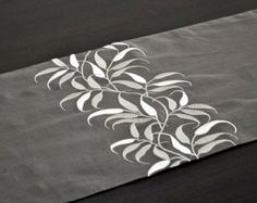 "Table Runner, Linen Table Runner 14"" x 64"", Medium taupe linen, Beige Leaves, Embroidered Table Runner, Table Linen,Tabletop, Floral, Modern"