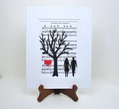 Personalized Paper Anniversary Gift, Paper Tree & Hearts on Sheet Music, Anniversary Gift, Wedding First Dance Song Music Anniversary Traditions, 1st Anniversary Gifts, Paper Anniversary, Anniversary Ideas, Wedding Vow Art, Wedding First Dance, Wedding Gifts, Cricut Wedding, Tree Wedding