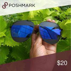Black aviator sunglasses Designer inspired black aviator sunglasses with a blue mirrored split lens Accessories Sunglasses