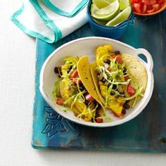 Tilapia Tacos Recipe -I absolutely love fish tacos and wanted to create a slimmed-down recipe so I could enjoy them anytime I wanted. I never have any complaints when I serve these for dinner!&mdashJade Peterson, Portland, Oregon