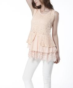 Look what I found on #zulily! Simply Couture Pink Lace-Tier Sleeveless Top by Simply Couture #zulilyfinds