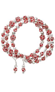 Jewelry Design - Bracelet with Red Rhinestones, Silver-Plated Beads and Memory Wire - Fire Mountain Gems and Beads
