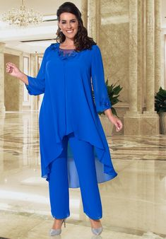 Floaty Trouser Suits - Mother of the Bride & Groom Dresses, Outfits &Trouser Suits Birmingham Plus Size Specialist Wedding Hats Mother Of The Bride Trouser Suits, Ladies Trouser Suits, Mother Of Bride Outfits, Trousers Women, Bride Groom Dress, Groom Outfit, Cobalt Dress, Mature Women Fashion, Flattering Outfits