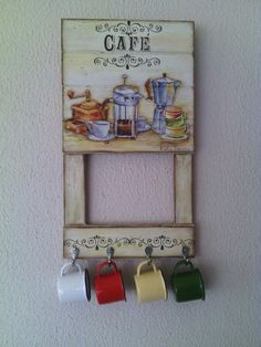 Quadro Handmade Crafts, Diy And Crafts, Coffee Bars In Kitchen, Decoupage Vintage, Victorian Decor, Coffee Signs, Vintage Wood, Diy Craft Projects, Wood Print
