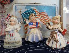 Vintage Patriotic July Birthday Angels