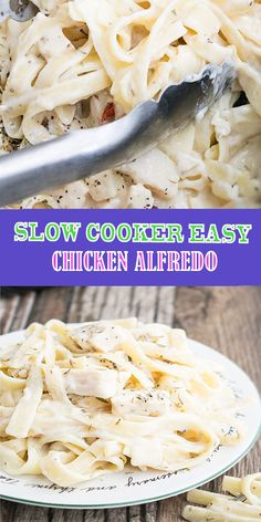 This simple slow cooker easy chicken alfredo requires 5 ingredients and 5 minutes of prep time. It's rich and creamy and an easy weeknight meal. Crock Pot Slow Cooker, Crock Pot Cooking, Slow Cooker Recipes, Crockpot Recipes, Cooking Recipes, Slow Cooker Alfredo Chicken, Easy Crockpot Chicken, Fetuchini Alfredo, Alfredo Recipe