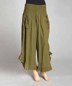 Take a look at this Army Green Ruffle Gaucho Pants by Indian Tropical Fashions on #zulily today!
