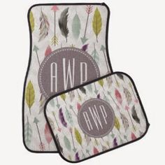 Feathers and Arrows Monogram Set of 4 Car Mats Floor Mat - super cute for my new mini :) Custom Car Mats, Custom Cars, Customized Gifts, Personalized Gifts, Gifts For Women, Gifts For Her, Sweet Cars, Christmas Gifts For Kids, Floor Mats