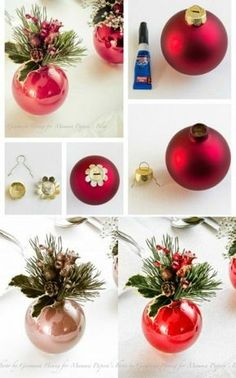 21 beautiful festive Christmas centerpieces to make yourself . - 21 wonderful festive Christmas centerpieces to make your own it Yourse - Disney Christmas Ornaments, Christmas Favors, Christmas Table Decorations, Christmas Balls, Christmas Holidays, Cheap Christmas Centerpieces, Christmas Place Setting, Christmas Table Settings, Christmas Vacation