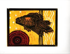 Goldfish Linoleum block cut print by Kristina Ayala