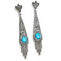 Art Deco Waterfall Turquoise Marcasite Sterling Silver Earrings freshpurple.com