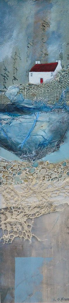 ''Storm Light'' Mixed Media Collage by Louise O'Hara Mixed Media Artwork, Mixed Media Canvas, Mixed Media Collage, Collage Art, Fabric Painting, Fabric Art, Textiles, Landscape Quilts, Mix Media