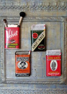 Vintage / Repurposed Half and Half Tobacco Tin Magnetic Holder, Office item, Home Decor, Gifts under 20, Gifts for Him