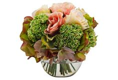 """8"""" Spring Rose Mixed Bouquet, Faux"""