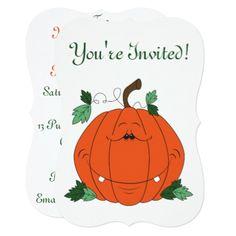 Cute Pumpkin Cartoon Card - thanksgiving invitations holiday cyo diy happy thanksgiving invitation card