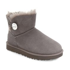 Women's Ugg Australia 'Mini Bailey Button Bling' Boot ($185) ❤ liked on Polyvore featuring shoes, boots, grey suede, ugg shoes, button boots, short grey boots, lined ankle boots and grey ankle boots