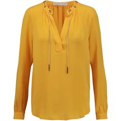 MICHAEL Michael Kors Embellished silk-crepe blouse (1.659.170 IDR) ❤ liked on Polyvore featuring tops, blouses, yellow, embellished top, loose tops, yellow blouse, sunflower top and cut loose tops