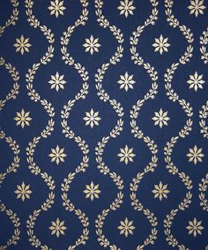 Clandon Wallpaper Pretty floral design in gold on dark blue