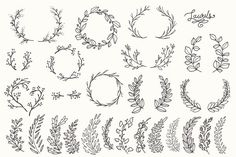 Whimsical Laurels & Wreaths Clip Art - Objects