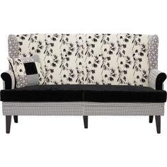 Wer auf schwarz-weiße Muster steht, der wird dieses Sofa lieben! Der Dreisitzer ist in einem harmonischen Patchworkdesign gestaltet. Der äußere Bezug erinnert an ein Hahnentrittmuster, während die Sitzfläche in samtigem Schwarz gehalten ist. Ein handgemaltes Blumenmuster ziert die extra hohe Rückenlehne und die Armlehnen zeigen filigrane Ornamente. Die konisch geformten Füße runden das ausgefallene Design ab. Das Zusammenspiel dieser Elemente kreiert einen einzigartigen L