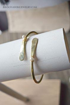 Hammered Wrap Pearl Cuff