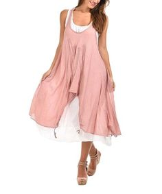 Old Pink Layered Embroidered Sleeveless Dress #zulily #zulilyfinds