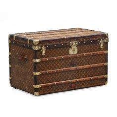 LOUIS VUITTON, a Monogram canvas trunk, early century: for a vintage voyage! Vintage Love, Vintage Items, Antique Trunks, Louis Vuitton Luggage, Steamer Trunk, Vintage Luggage, Suitcases, Haberdashery, Monogram Canvas